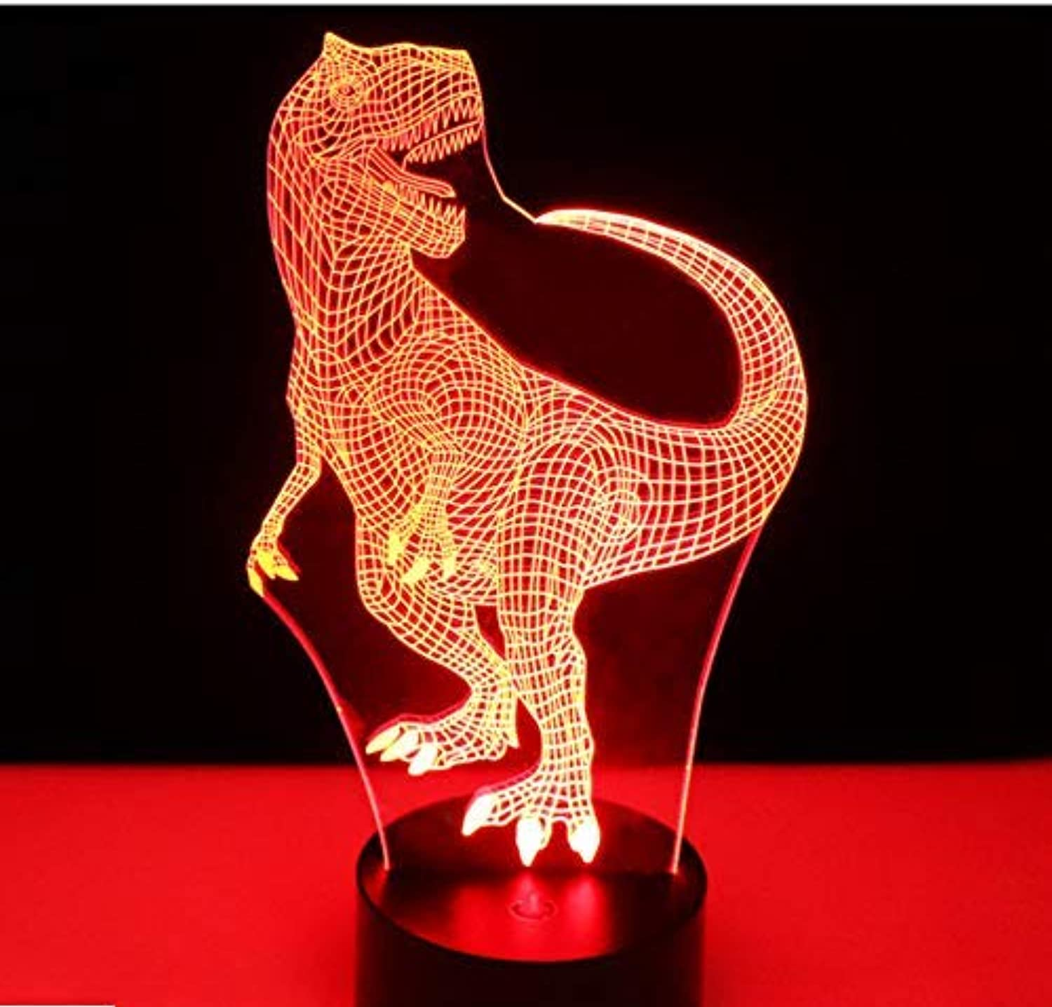 BMY 3D Led Night Lights Happy Tyrannosaurus Rex Dinosaur with 7 colors Light for Home Decoration Lamp Amazing Visualization