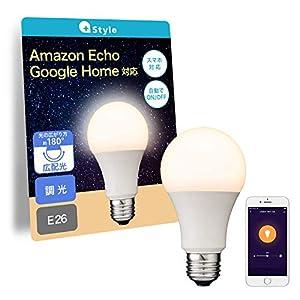 "【Amazon Alexa認定】+Style スマートLED電球 E26 (調光) LED電球 電球色 60W 810lm スマート 調光 ハブ ブ..."""