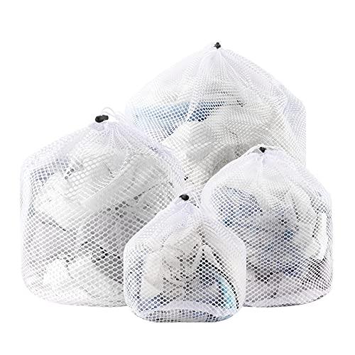 FayTun Wäschesack, 4 Stück Wäschenetz Wäschebeutel Waschmaschine mit Kordelstopper, Wiederverwendbare Groß Netzbeutel für Wäsche für Mantel, Babywäsche, Bettwäsche Unterwäsche, Socken, Kaschmir