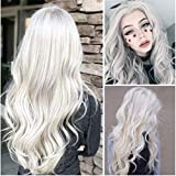 Pelucas para Mujer Platinum Blonde Full Wig Long Flaxen Hair Wig Ladies Kinky Curly Fashion Wigs Ombre Cosplay Part Curly Hair High Synthetic Loose Wave Headwear