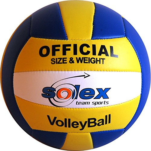 Volleyball Solex Team Sports - handgenähter strapazierfähiger Soft Ball, Gr. 5 Trainingsball in offizieller Größe und Gewicht, Wettkampf- und Spielball