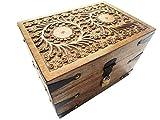 Holzspielzeug-Tom 25GS Truhe mit Schloß Holztruhe Schatzkiste mit Schloss Schatztruhe Geschenk Geschenkbox Geburtstagsgeschenk verschließbar abschließbar mit Deckel