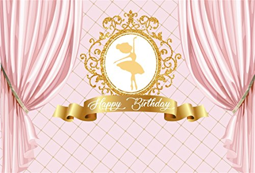 CSFOTO 7x5ft Happy Birthday Backdrop Ballet Dancer Princess Pink Curtain Ballerina Background for Photography Girl Birthday Party Photo Polyester Backdrop