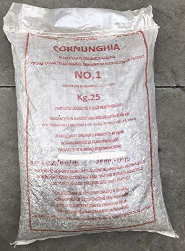 CORNUNGHIA FINE KG.25 Diam.1-6mm Concime naturale biologico per orto giardino e rose