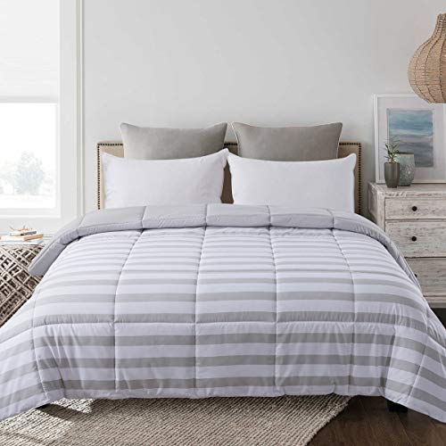 Cosybay Twin XL Stripe and Light Grey Comforter, Reversible Down Alternative Comforter, All Season Lightweight Duvet Insert, Double Sided(68×92 Inch)