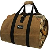 Amagabeli Fireplace Carrier Waxed Canvas Fire Place Sturdy Wood Carring Bag with Handles Security Strap for Camping Indoor Firewood Logs Tote Log Holder Birchwood Stand