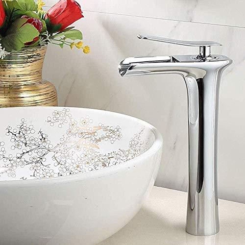 Grifo de baño de estilo europeo moderno chapado en bronce cascada grifos baño mezclador de calor frío grifo del fregadero alta sección grifo del baño grifo agua cascada grifos altura 28cm