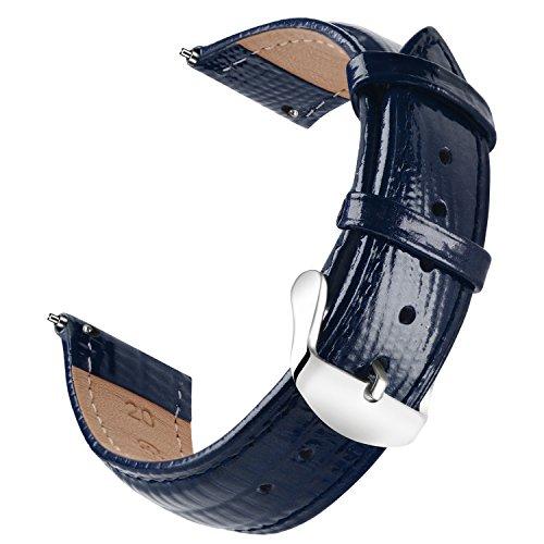 Correa OLLREAR para Relojs Recambios Cuero Auténtico Becerro Correa Reloj - 6 Colors & 6 Sizes - 14mm, 16mm, 18mm, 20mm, 22mm, 24mm (22mm, White)
