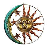 Artistic Sun and Moon Metal Wall Art Decor for Indoor or Outdoor Use.