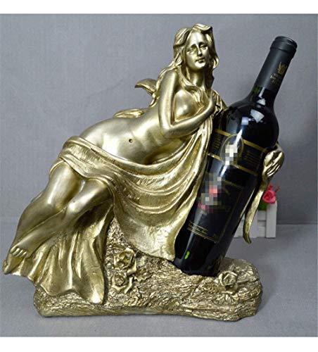 GLYYR Weinregal Göttin der Liebe Wein Flaschenhalter/Nackte sexy Göttin Weinregal Freistehend Harz Handwerk Statue Dekoration (Gold) (Color : Silver)