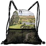 AZXGGV Drawstring Backpack Rucksack Shoulder Bags Gym Bag Sport Bag,Overhill Matamata New Zealand Movie Set Hobbit Land Village Movie Set Image