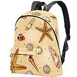 Sandmuscheln Muster Bag Teens Student Bookbag Leichte Umhängetaschen Reiserucksack Tägliche Rucksäcke