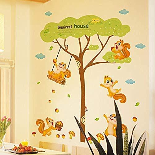 Muurstickers muurstickers eekhoorn thuis spelen onder boom kunst kinderkamer dierlijk bos 60X90cm