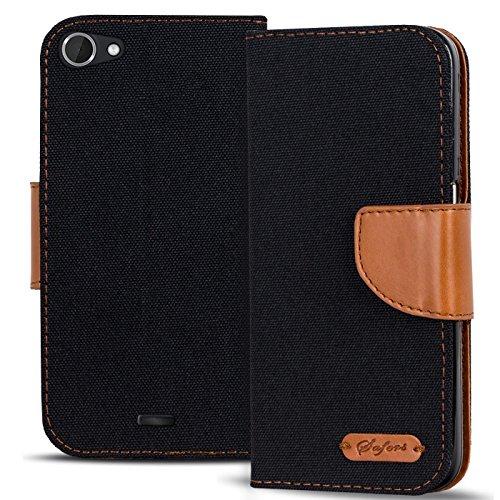 Conie TW44467 Textil Wallet Kompatibel mit Wiko Pulp Fab 4G, Textil Hülle Klapptasche mit Kartenfächer Etui Slim Cover für Pulp Fab 4G Handyhülle Jeans Schwarz