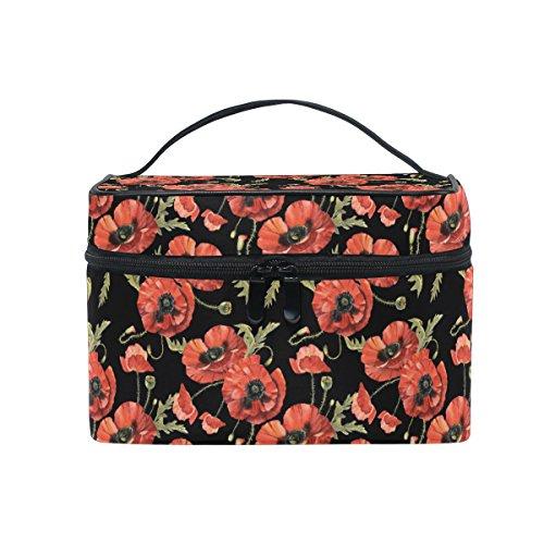 Sac de maquillage, Poppy Imprimé floral Cosmétique de stockage de toilette Organiseur Grande Poignée de voyage personnalisé Pouch avec compartiments pour Teenage Girl Femme Lady Noir Rouge