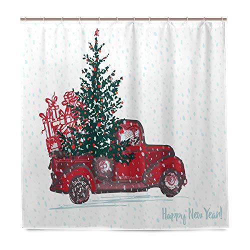 Weihnachts-Duschvorhang, Motiv: Roter LKW, Baum, Schnee, Badezimmer, Heimdeko, Winter, Schimmelresistent, wasserfest, mit 12 Haken, 183,0 cm x 183,0 cm