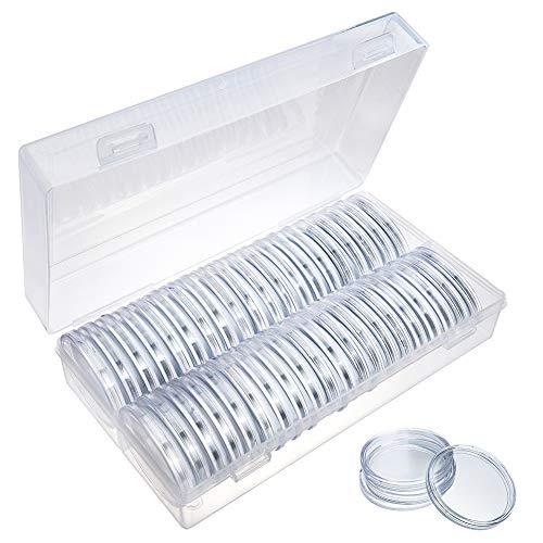 BENECREAT 40 Piezas Caja de Colección de Monedas Contenedor de Plástico con Almohadilla Protectora de 40 Piezas para Moneda de 16mm - 39mm