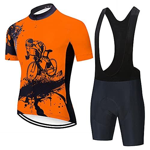 HXTSWGS Ciclismo para Hombre de Equipos Ciclismo Ropa,Ropa de Hombre Wear Pro Team Cycling Jersey Ropa de Ciclismo de Manga Corta Summer Road Bike Sets-A12_5XL