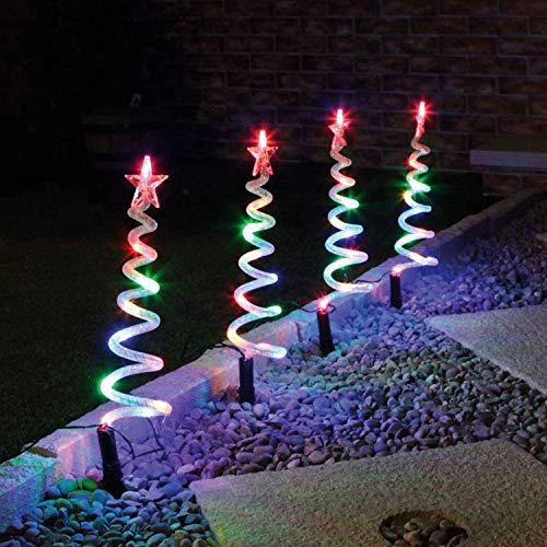 Weskjer Solar Christmas Stake Lights, 4 in 1 Spiral Christmas Tree Light, Multicolor Copper Wire LED Xmas Pathway Lights, Metal Xmas Tree Garden Stakes Lawn Ornament