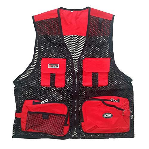 Hombres De Verano Respirable Chaleco Exterior De con Multibolsillos Vest para Pesca Fotografía (Rojo, XL)