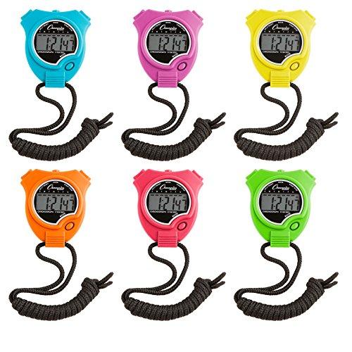 Champion Sports Stoppuhr Timer Set: Wasserdicht, Handheld Digital Uhr Sport Stoppuhren mit großem Display für Kinder oder Coach–Bright farbigen 6Pack, neon