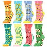 BONANGEL Calcetines Estampados de las Mujeres, Mujeres Ocasionales Calcetines Divertidos Impresos de Algodón de Pintura Famosa de Arte Calcetines, Calcetines de Colores de moda (8 Pares-MissLemon)