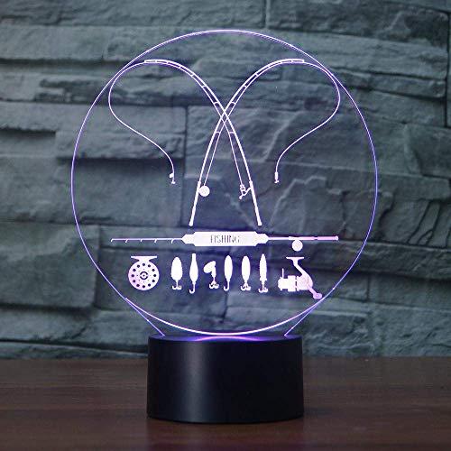 Angelausrüstung Modell 3d Lampe Visual Illusion Angelrute Multicolor 3d Led USB Nachtlicht Home Decor Kids