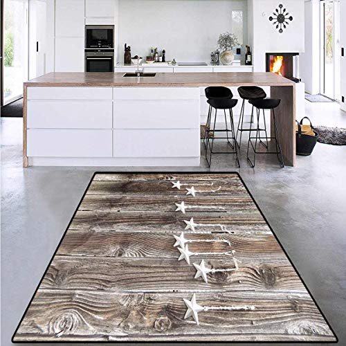 """Primitive Country Decor, Bath Mat 3D Digital Printing Mat, Silver Colored Ornate Stars on Wooden Rustic Fence Cabin Print, Extra Large Area Rug 6'6"""" x 10' Brown Silver"""