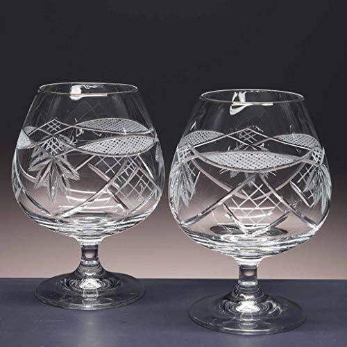 la galaica   Set de 2 Copas de Cristal para coñac o Brandy   Talladas a Mano   Colección Gastro. Copas para Usar en Fiestas y Celebraciones con Amigos y Familiares