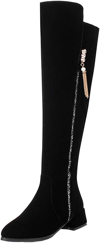 Vitalo Womens Low Chunky Heel Wide Calf Knee High Pointed Boots