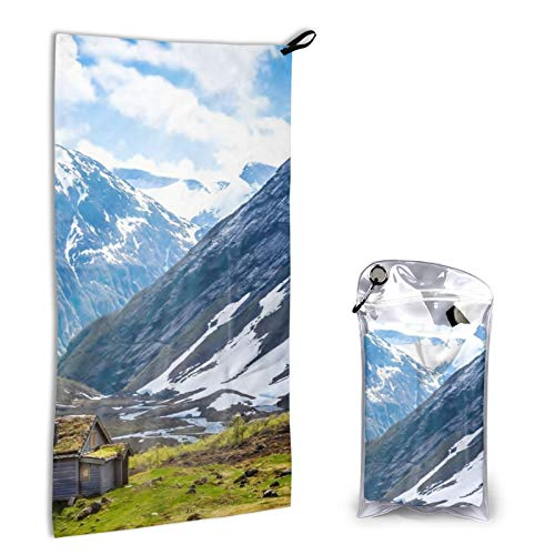 Microfiber towel Alone cabin clouds cottage field grass light mountain nature snow Beach Quick Dry Super Absorbent Lightweight Purpose Sand Free Towel Travel Yoga Gym Swim Hiking Camping Bath