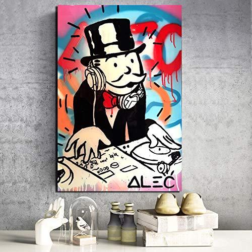 KWzEQ Patrón de Dibujos Animados Divertidos Lienzo Pintura Sala de Estar decoración Pintura Moderna hogar Arte de la Pared Pintura al óleo Cartel,Pintura sin Marco,50x75cm