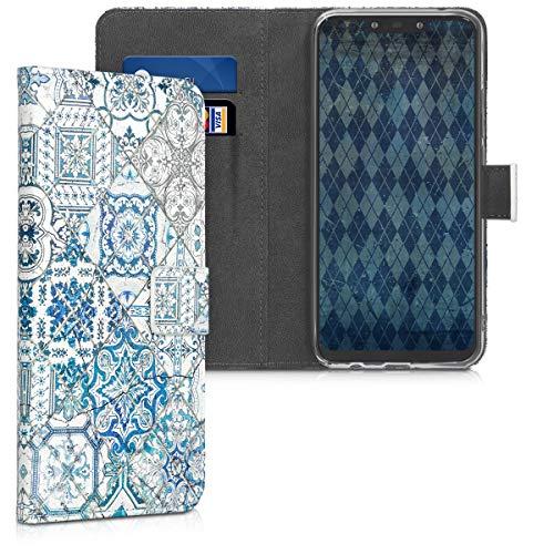 kwmobile Wallet Case kompatibel mit Huawei Mate 20 Lite - Hülle Kunstleder mit Kartenfächern Stand Marokkanische Fliesen Uni Blau Grau Weiß