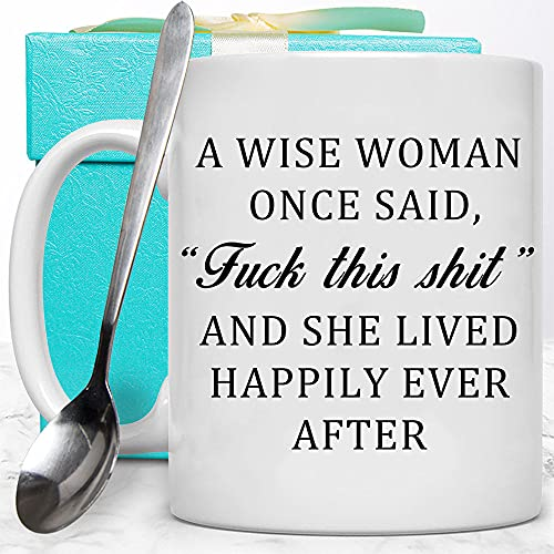 Dynular Birthday Gifts for Women Christmas Retirement Funny Coffee Mug Gift for Female Wise Woman Sister Friend Unique Farewell Graduation Tea Cup Ppresents for Grandma Aunt Mom Wife with Key Chain