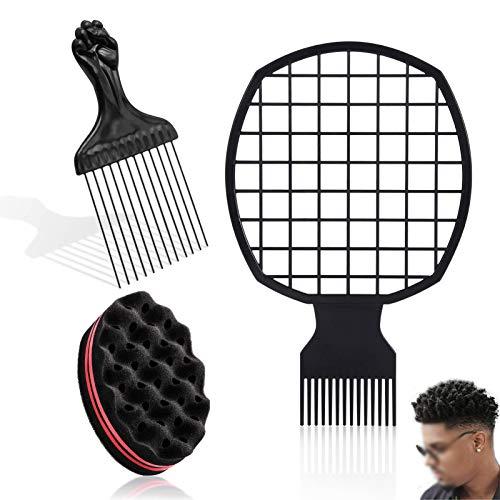 Cepillo de Esponja Para el Cabello y Peine Afro,Peine Afro de Metal Curl Magic PeluqueríA Pelo Cepillo Esponja Bobina Cepillos de Esponja para Rizar