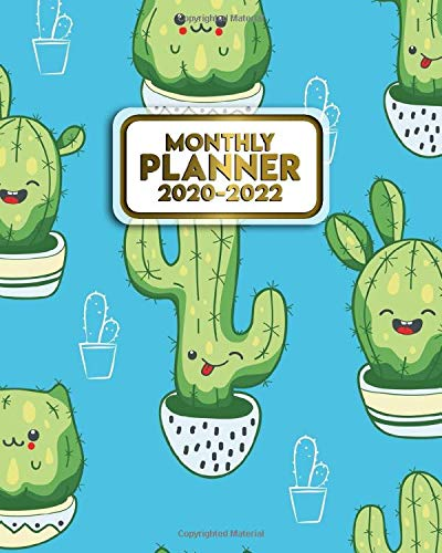 2020-2022 Monthly Planner: Three Year Calendar & Organizer with Monthly Spread Views - 3 Year Schedule Agenda with To-Do's, Motivational Quotes, Notes & Vision Boards - Cute Kawaii Cactus