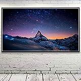 N / A Pintura sin Marco Invierno Noche Estrellas Espacio Nieve Paisaje Arte Seda Cartel decoración del hogar imagen55X100cm