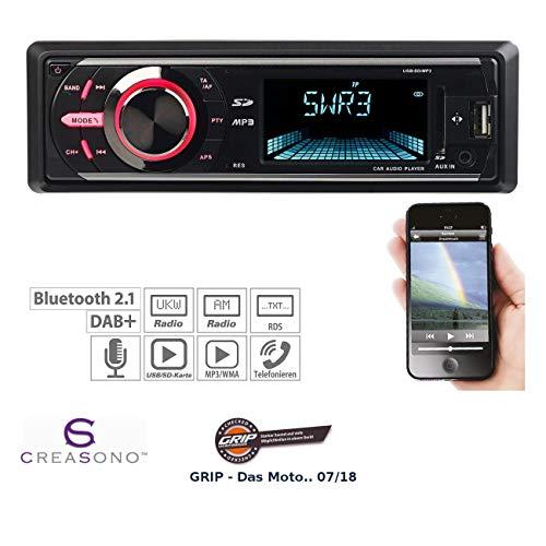 CREASONO 1 DIN Autoradio: MP3-Autoradio mit DAB+, Bluetooth, Freisprecher, USB & SD, 4X 50 Watt (DAB Radio Auto)