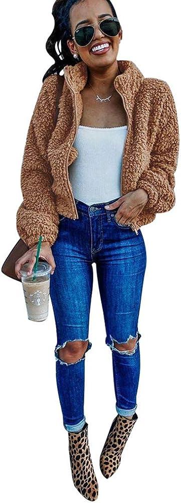 OLUOLIN Women Coat Long Sleeve Shaggy Lapel Fleece Fuzzy Faux Shearling Zipper Open Front Cardigan Short Jacket Outwear