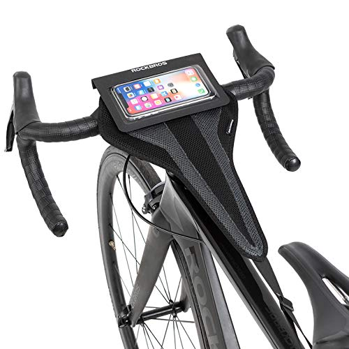 ROCKBROS Bike Sweat Guard Bicycle Trainer Sweat Net with Phone Pouch Bike Sweat Catcher Net Sweat Protector for Indoor Cycling Training Compatible with iPhone 12 11 Phones Below 6.2''