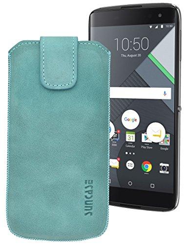 Suncase ECHT Ledertasche Leder Etui für BlackBerry DTEK 60 Tasche (mit Rückzugsfunktion) in antik-türkis