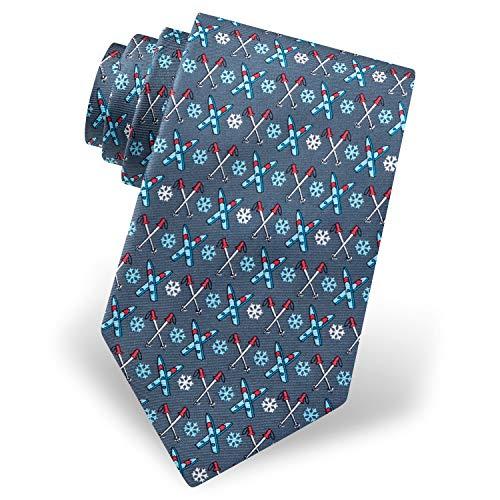 Alynn Herren Krawatte/Krawatte, 100% Seide, Daunen, Skifahren und Schneeflocken, Wintersport - Grau - Einheitsgröße