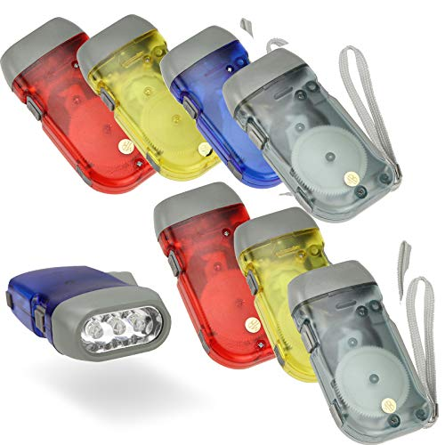 MA STRAP Hand Crank Flashlight Manual Squeeze Power Light Pack of 8 No-battery Required LED Torch For emegency Hurricane Storm Backpacking,Camping