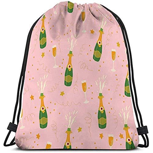Trekkoord Tas Champagne Flessen Bril Roze Ba Hand getrokken Explosie Fluiten Coördinaat Sip Zie Positief