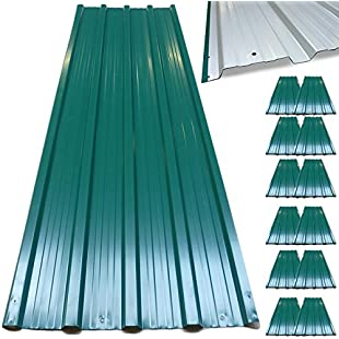 12x Deuba Corrugated Roof Sheets - Roofing, Sheeting, Cladding, Profiled, Trapezodial (129x45cm) - Galvanized Steel Metal, 7m² Green:Marocannonce