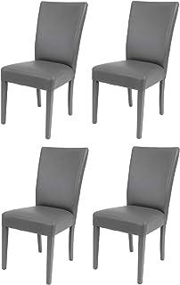 t m c s Tommychairs - Set 4 sillas Martina para Cocina, Comedor, Bar y Restaurante, solida Estructura en Madera de Haya y Asiento tapizado en Polipiel Gris Oscuro