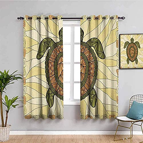 MENGBB Blackout Curtain for Kids Girls Microfiber - Turtle green cartoon animation - Thermal Insulated 95% Blackout - 78x63 inch Kitchen Bedroom Living Room Window Eyelet Curtains