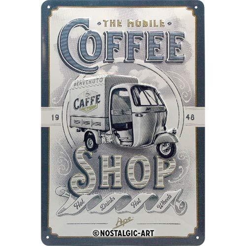 Nostalgic-Art Retro Blechschild APE – Coffee Shop – Geschenk-Idee für Italien-Fans, aus Metall, Vintage-Design zur Dekoration, 20 x 30 cm