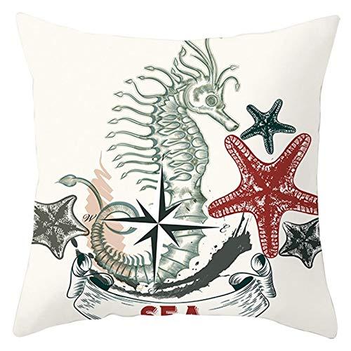 Amody Funda de Cojin para Cama, Funda Cojin 40x40cm Barco Estrella de Mar Caballito de Mar Fundas de Cojines para Sofa Modernos Style 10