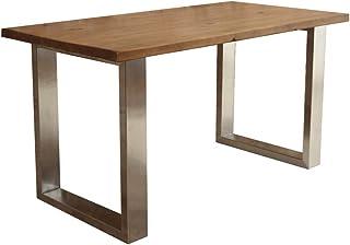 CosyWood Table de salle à manger en forme de U avec pieds en acier inoxydable Marron